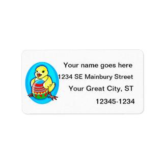 óvalo azul del huevo grande amarillo feliz del pol etiquetas de dirección
