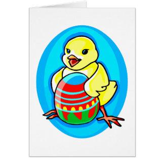 óvalo azul del huevo grande amarillo feliz del tarjeta pequeña