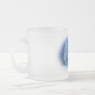 Óvalo azul del navidad #4 taza de café esmerilada