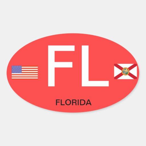 Óvalo BumperSticker del Euro-Estilo de Florida* Calcomanías Ovales