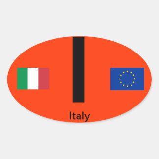 Óvalo BumperSticker del Euro-Estilo de Italy