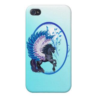 Óvalo con alas azul de Pegaso iPhone 4 Carcasas