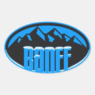 Óvalo coronado de nieve de Banff Alberta Colcomanias De Oval Personalizadas