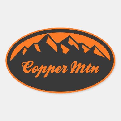 Óvalo de cobre de la montaña pegatina ovalada