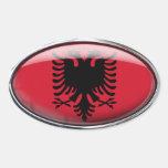 Óvalo de cristal de la bandera de Albania Calcomanía De Oval