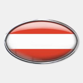 Óvalo de cristal de la bandera de Austria Pegatina Ovalada