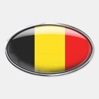 Óvalo de cristal de la bandera de Bélgica Pegatina Ovalada