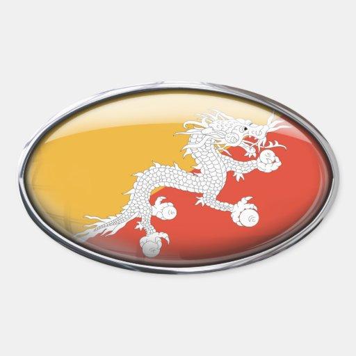 Óvalo de cristal de la bandera de Bhután Pegatina Ovalada