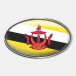 Óvalo de cristal de la bandera de Brunei Calcomania De Óval Personalizadas