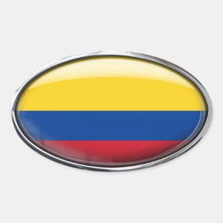 Óvalo de cristal de la bandera de Colombia Pegatina Ovalada