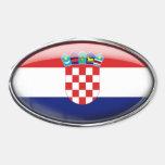 Óvalo de cristal de la bandera de Croacia Calcomanías Ovales Personalizadas