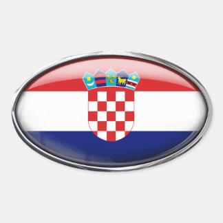Óvalo de cristal de la bandera de Croacia Pegatina Ovalada