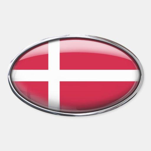 Óvalo de cristal de la bandera de Dinamarca Pegatina Ovalada