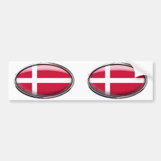 Óvalo de cristal de la bandera de Dinamarca Pegatina Para Auto