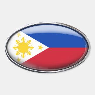 Óvalo de cristal de la bandera de Filipinas Pegatina Ovalada