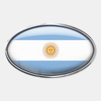 Óvalo de cristal de la bandera de la Argentina Pegatina Ovalada