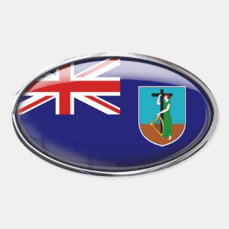 Óvalo de cristal de la bandera de Montserrat Pegatina Ovalada