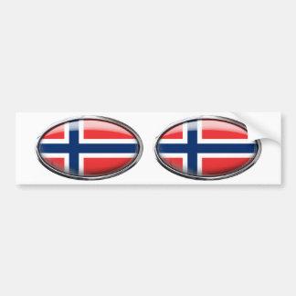 Óvalo de cristal de la bandera de Noruega Etiqueta De Parachoque
