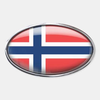 Óvalo de cristal de la bandera de Noruega Pegatina Ovalada