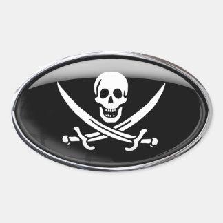 Óvalo de cristal de la bandera de pirata pegatina ovalada