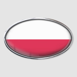 Óvalo de cristal de la bandera de Polonia Pegatina Ovalada