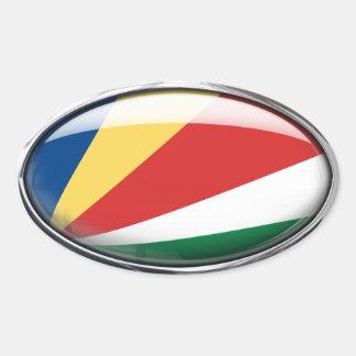 Óvalo de cristal de la bandera de Seychelles Pegatina Ovalada