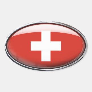 Óvalo de cristal de la bandera de Suiza Pegatina Ovalada