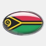 Óvalo de cristal de la bandera de Vanuatu Pegatinas De Óval Personalizadas