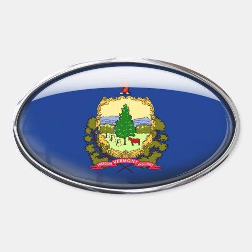 Óvalo de cristal de la bandera de Vermont Calcomanías Ovaladas