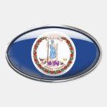 Óvalo de cristal de la bandera de Virginia Calcomanía Ovaladas Personalizadas