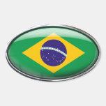 Óvalo de cristal de la bandera del Brasil Calcomanía De Oval