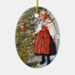 Óvalo de encargo del ornamento del árbol de adorno navideño ovalado de cerámica