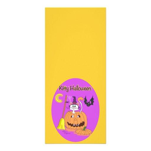 Óvalo de Halloween del gatito Tarjeta Publicitaria