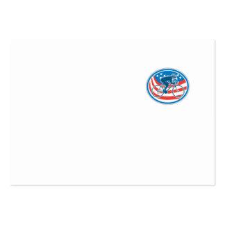 Óvalo de la bandera americana de la bici de tarjetas de visita grandes