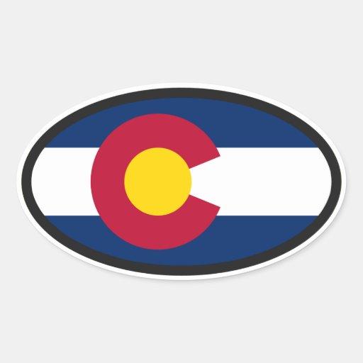 Óvalo de la bandera de Colorado Pegatinas Oval Personalizadas