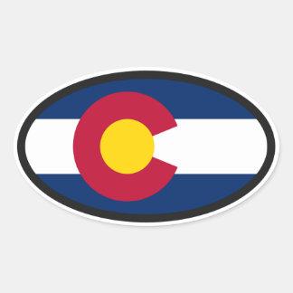 Óvalo de la bandera de Colorado Calcomanía Ovalada