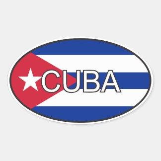 Óvalo de la bandera de Cuba Pegatina Ovalada