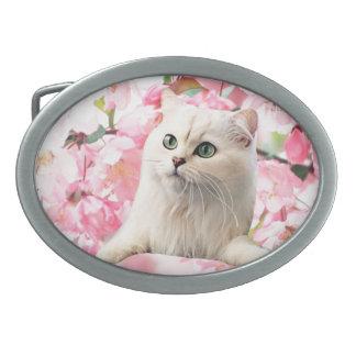 Óvalo de la hebilla del cinturón del gato hebillas de cinturón ovales