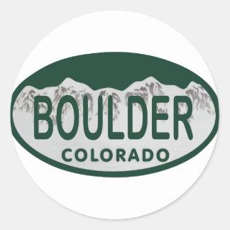 Óvalo de la licencia de Boulder Pegatina Redonda