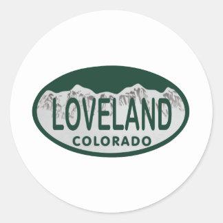 Óvalo de la licencia de Loveland Pegatina Redonda