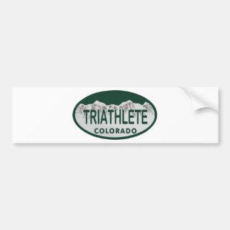 Óvalo de la licencia de Triathlete Pegatina De Parachoque