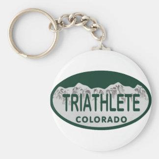 Óvalo de la licencia de Triathlete Llaveros Personalizados