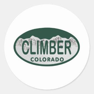 óvalo de la licencia del escalador pegatina redonda