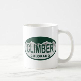 óvalo de la licencia del escalador taza clásica