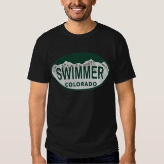 Óvalo de la licencia del nadador polera