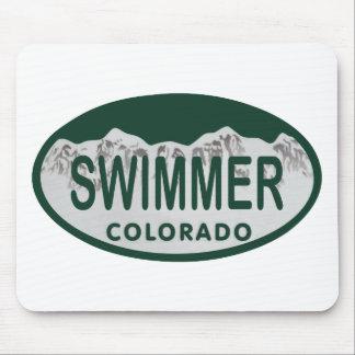 Óvalo de la licencia del nadador alfombrilla de ratones