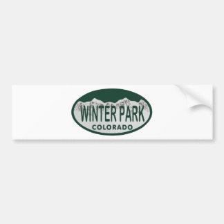 Óvalo de la licencia del parque del invierno pegatina de parachoque