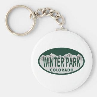 Óvalo de la licencia del parque del invierno llavero personalizado