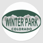 Óvalo de la licencia del parque del invierno pegatina redonda