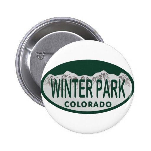 Óvalo de la licencia del parque del invierno pin redondo 5 cm